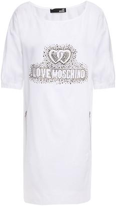 Love Moschino Crystal-embellished Cotton-blend Poplin Mini Dress