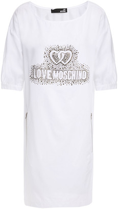 Love Moschino Crystal-embellished Cotton-blend Twill Mini Dress
