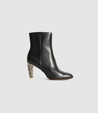 Reiss Sophia - Leather Ankle Boots With Snake Detail in Black