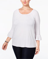 INC International Concepts Plus Size Bell-Sleeve Peasant Top, Only at Macy's