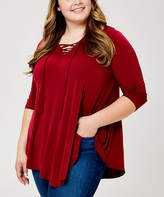 Urban Rose Women's Blouses Wine - Wine Pointed-Hem Lace-Up V-Neck Top - Plus