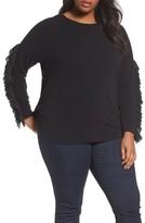 Sejour Plus Size Women's Mesh Ruffle Sleeve Top