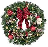 "26"" Pre-Lit Home for the Holidays Christmas Wreath"