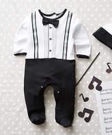 Baby Essentials Black & White Tuxedo Footie Bodysuit & Beanie - Infant