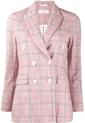 1901 Circolo tartan patterned double-breasted blazer