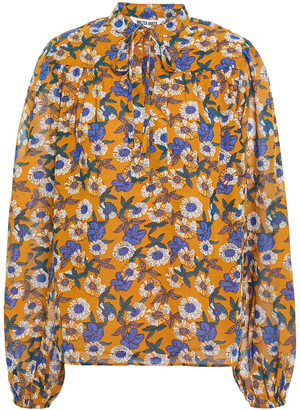 Walter Baker Gathered Floral-print Mousseline Blouse