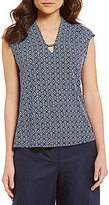 Jones New York Diamond Matte Jersey Foulard Print With Solid Back V-Neck Shell