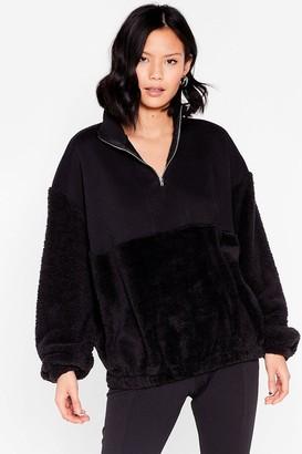 Nasty Gal Womens Are You Teddy to Go Oversized Zip Sweatshirt - Black