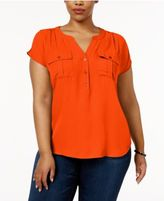 INC International Concepts Plus Size Mixed-Media Utility Shirt, Created for Macy's