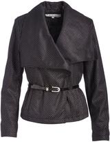 Kenneth Cole Black Polka Dot Belted Jacket