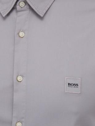 HUGO BOSS Magneton 1 Short Sleeve Stretch Shirt - Silver