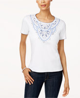 Alfred Dunner Long Weekend Studded Embroidered Top