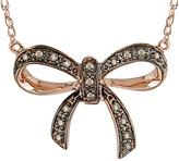 Julie Leah 10K Rose Gold Bow-Shaped Necklaces with Brown Diamond Accents
