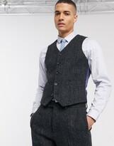 Asos Design DESIGN slim suit waistcoat in 100% wool Harris Tweed in charcoal herringbone