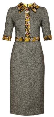 Dolce & Gabbana Brocade-trimmed Wool-blend Tweed Dress - Womens - Grey Multi