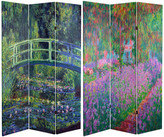 Oriental Furniture 6' Tall Double Sided Works of Monet Canvas Room Divider, Water Lily/Ga