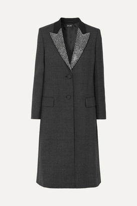 Miu Miu Crystal-embellished Prince Of Wales Checked Wool Coat - Black
