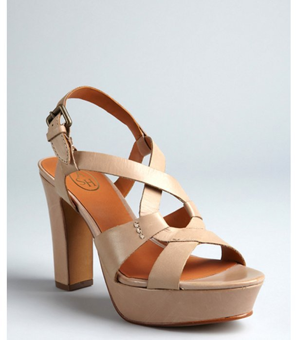 Ash clay leather cut out 'Cindy' stacked heels