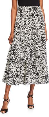 Lafayette 148 New York Zia Cheetah Print Tiered Silk Skirt