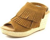 Minnetonka Ashley Women Open Toe Suede Brown Wedge Sandal.