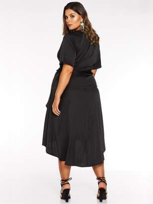 Quiz Curve Dip Hem Satin Tie Belt Wrap Dress