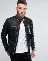 Pull&bear Faux Leather Biker Jacket In Black