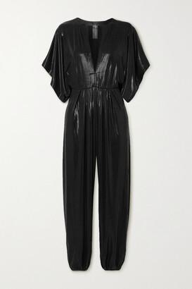 Norma Kamali Rectangle Stretch-lame Jumpsuit - Black