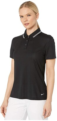 Nike Dry Victory Polo Short Sleeve Solid (Black/White/White) Women's Clothing