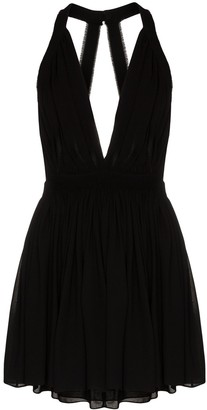 Saint Laurent V-neck halterneck mini dress