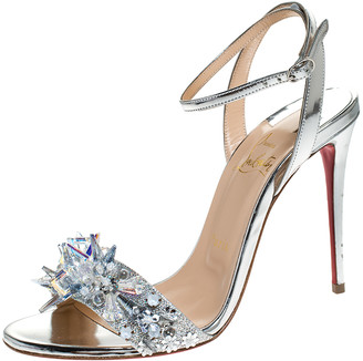 Christian Louboutin Metallic Silver Lame Fabric And Leather Embellished Okydok Ankle Strap Sandals Size 37