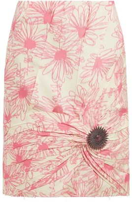Calvin Klein Brooch-embellished Floral-print Silk Skirt - Womens - Pink White