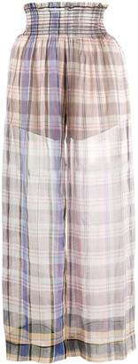 Forte Forte Smocked Waistband Tartan Silk Skirt