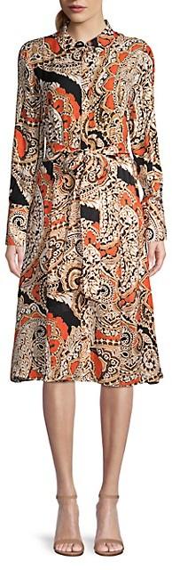 Kobi Halperin Madi Paisley Long-Sleeve Shirt Dress