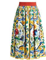 Dolce & Gabbana Majolica-print gathered cotton midi skirt