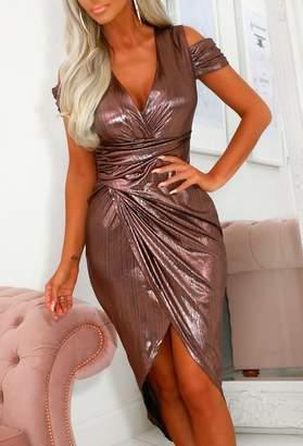 Pink Boutique Grecian Beauty Pink Metallic Cuff Sleeve Wrap Midi Dress