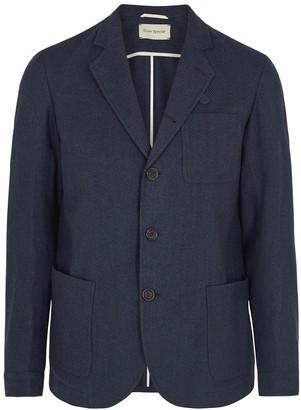 Oliver Spencer Solms Navy Striped Cotton-blend Blazer