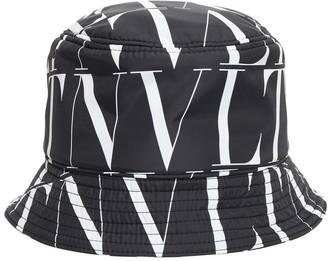 Valentino Allover Logo Print Nylon Bucket Hat