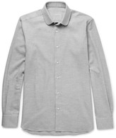 Caruso - Slim-fit Penny-collar Brushed-cotton Twill Shirt