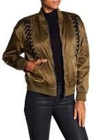 Bagatelle Velvet Lace-Up Bomber Jacket