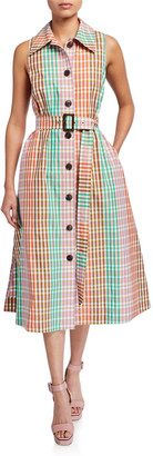Kate Spade multi plaid sleeveless shirtdress
