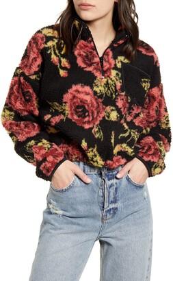 BDG Rose Fleece Quarter Zip Crop Pullover