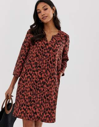 Vila leopard print shift dress-Multi