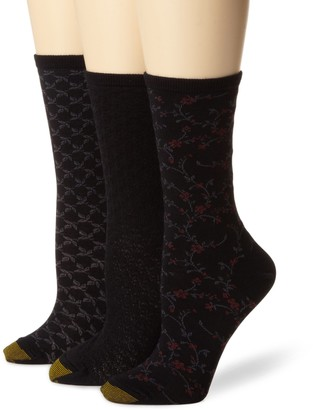 Gold Toe Women's Floral Diamonds And Leaf Pattern 3 Pack Socks