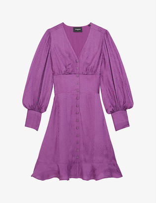 The Kooples V-neck silk-satin mini dress