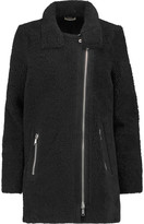 Joie Blaise paneled shearling and ribbed-knit wool coat