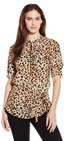 Calvin Klein Women's Printed Tunic Roll Sleeve Blouse