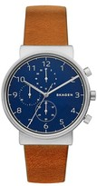 Skagen Men's Ancher Chronograph Leather Strap Watch, 40Mm