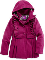 Pink Platinum Faux Wool Ruffle Coat - Girls 7-16