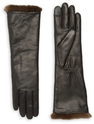 Agnelle Carole Rabbit Fur-Lined Leather Gloves