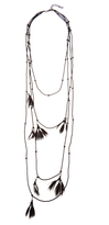 Valentino Multi-strand feather and bead necklace
